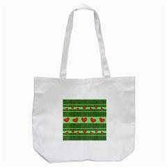 Fabric Christmas Hearts Texture Tote Bag (White)