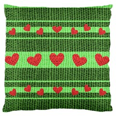 Fabric Christmas Hearts Texture Large Flano Cushion Case (one Side)