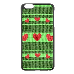 Fabric Christmas Hearts Texture Apple iPhone 6 Plus/6S Plus Black Enamel Case