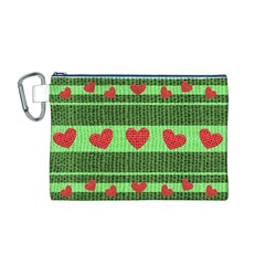 Fabric Christmas Hearts Texture Canvas Cosmetic Bag (M)