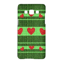 Fabric Christmas Hearts Texture Samsung Galaxy A5 Hardshell Case
