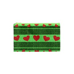 Fabric Christmas Hearts Texture Cosmetic Bag (XS)