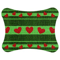 Fabric Christmas Hearts Texture Jigsaw Puzzle Photo Stand (bow)