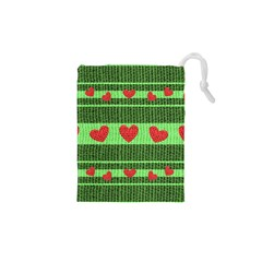 Fabric Christmas Hearts Texture Drawstring Pouches (xs)