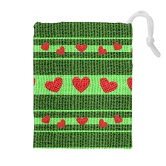 Fabric Christmas Hearts Texture Drawstring Pouches (Extra Large)