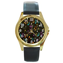 Fabric Cloth Textile Clothing Round Gold Metal Watch