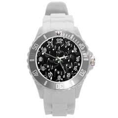 Fabric Cloth Textile Clothing Round Plastic Sport Watch (l)