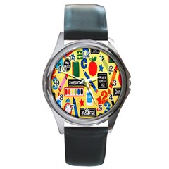Fabric Cloth Textile Clothing Round Metal Watch