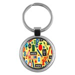 Fabric Cloth Textile Clothing Key Chains (Round)  Front