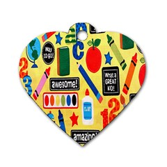 Fabric Cloth Textile Clothing Dog Tag Heart (One Side)
