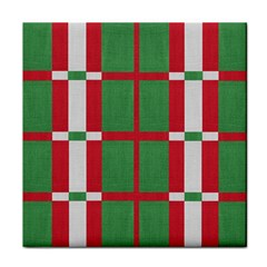 Fabric Green Grey Red Pattern Tile Coasters