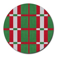 Fabric Green Grey Red Pattern Round Mousepads