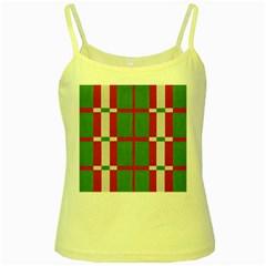 Fabric Green Grey Red Pattern Yellow Spaghetti Tank
