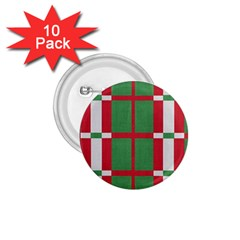 Fabric Green Grey Red Pattern 1 75  Buttons (10 Pack)