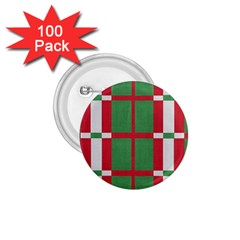 Fabric Green Grey Red Pattern 1.75  Buttons (100 pack)