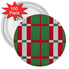 Fabric Green Grey Red Pattern 3  Buttons (100 pack)
