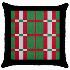 Fabric Green Grey Red Pattern Throw Pillow Case (Black)