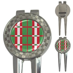 Fabric Green Grey Red Pattern 3-in-1 Golf Divots