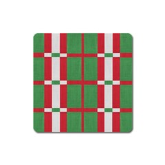 Fabric Green Grey Red Pattern Square Magnet