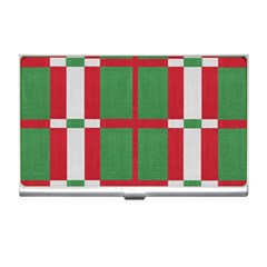 Fabric Green Grey Red Pattern Business Card Holders