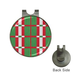 Fabric Green Grey Red Pattern Hat Clips with Golf Markers