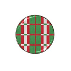 Fabric Green Grey Red Pattern Hat Clip Ball Marker (10 pack)