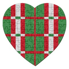 Fabric Green Grey Red Pattern Jigsaw Puzzle (Heart)