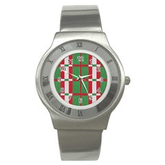 Fabric Green Grey Red Pattern Stainless Steel Watch