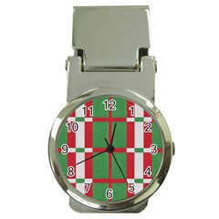 Fabric Green Grey Red Pattern Money Clip Watches