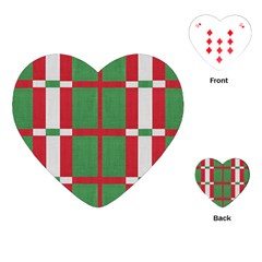 Fabric Green Grey Red Pattern Playing Cards (Heart)