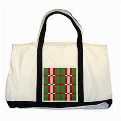 Fabric Green Grey Red Pattern Two Tone Tote Bag