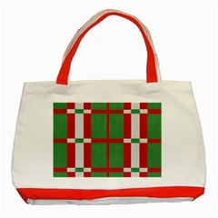 Fabric Green Grey Red Pattern Classic Tote Bag (Red)