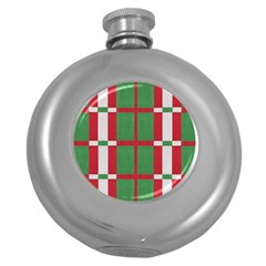 Fabric Green Grey Red Pattern Round Hip Flask (5 oz)