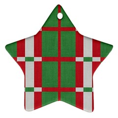 Fabric Green Grey Red Pattern Star Ornament (Two Sides)