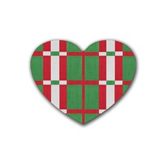 Fabric Green Grey Red Pattern Heart Coaster (4 pack)