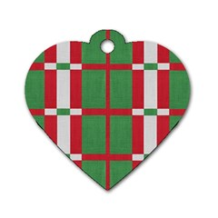 Fabric Green Grey Red Pattern Dog Tag Heart (Two Sides)
