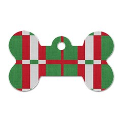 Fabric Green Grey Red Pattern Dog Tag Bone (One Side)