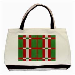 Fabric Green Grey Red Pattern Basic Tote Bag (Two Sides)