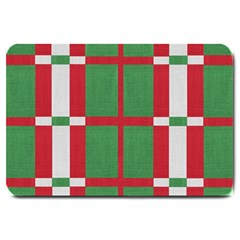 Fabric Green Grey Red Pattern Large Doormat