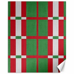 Fabric Green Grey Red Pattern Canvas 11  X 14