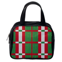 Fabric Green Grey Red Pattern Classic Handbags (One Side)