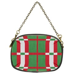 Fabric Green Grey Red Pattern Chain Purses (One Side)