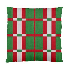 Fabric Green Grey Red Pattern Standard Cushion Case (Two Sides)