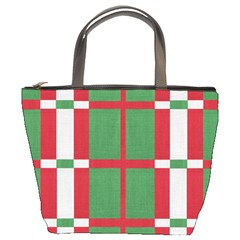 Fabric Green Grey Red Pattern Bucket Bags