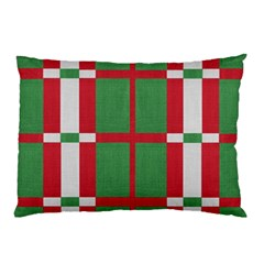 Fabric Green Grey Red Pattern Pillow Case