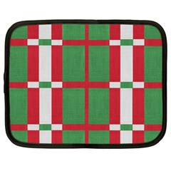 Fabric Green Grey Red Pattern Netbook Case (XL)