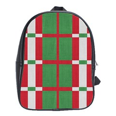 Fabric Green Grey Red Pattern School Bags(Large)