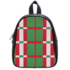 Fabric Green Grey Red Pattern School Bags (small)