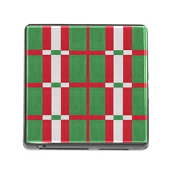 Fabric Green Grey Red Pattern Memory Card Reader (Square)