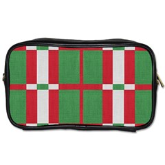 Fabric Green Grey Red Pattern Toiletries Bags